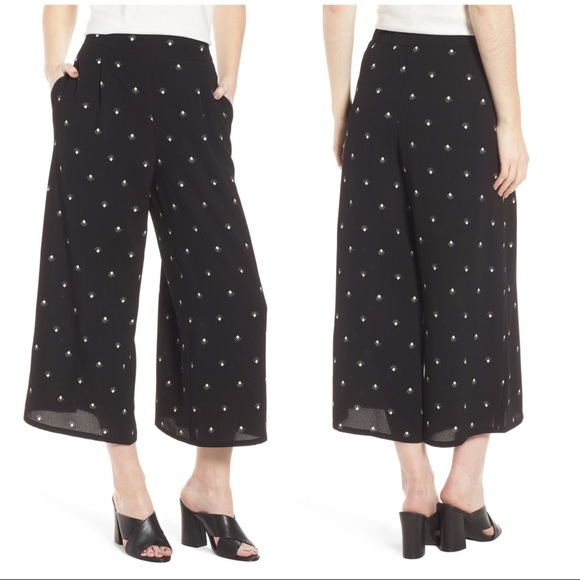Leith Pants - Leith Print Culottes High Waisted Black Pants